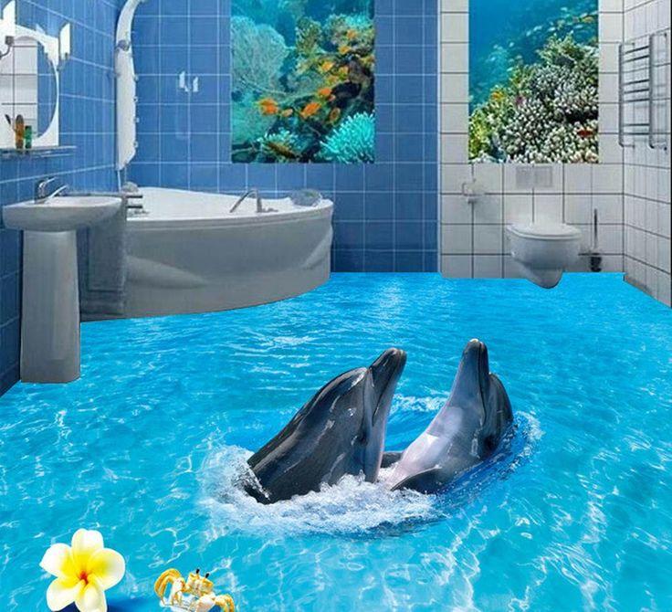 3d пол обои 3D пол в ванной комнате Дельфин Пляж Пляж пол фрески в стены стикеры Украшения Дома