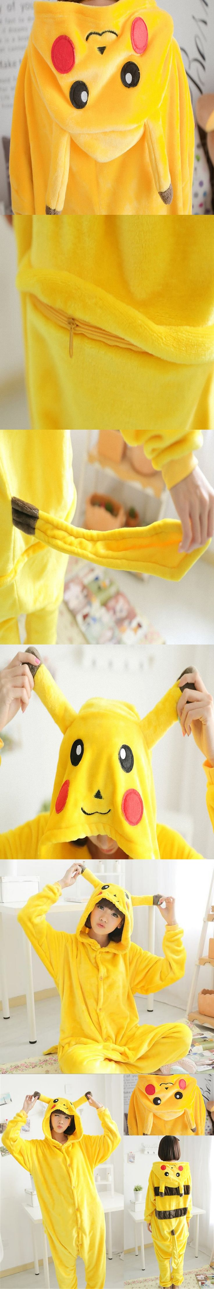 Free ship Christmas Japan Adult Pokemon Pikachu Cosplay Footed One Piece Pajamas Onesie Costume Fleece Clothing XL