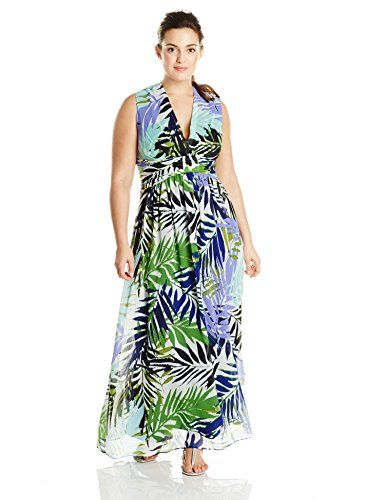 Vince Camuto Women's Plus-Size Sleeveless V Neck Printed Maxi Dress, Print,  14W