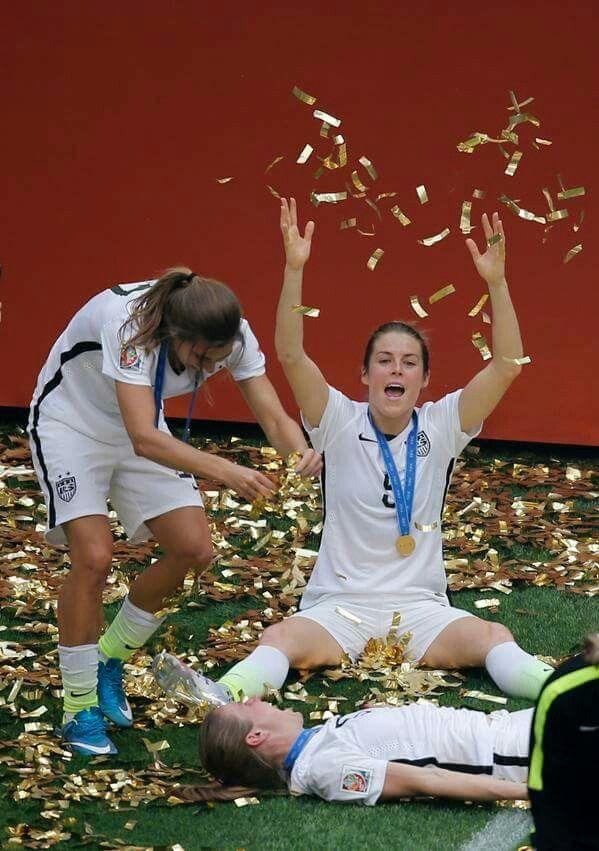 Kelley O'Hara celebrating world cup victory
