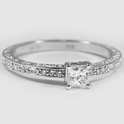 18 Karat Weißgold zarten antiken Scroll-Ring / / Set mit einem 0,33 Karat, Prinzessin, …