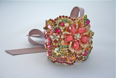 cuff - I think this would be beautiful as a homecoming wrist corsage (put big bow on the underside). Something you could keep forever!!