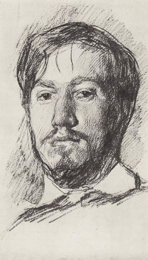 """Valentin Serov self-portrait drawing, 1883. From """"100 Self-Portrait Drawings from 1484 to Today"""""""