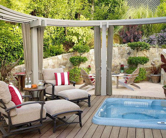 Make a Splash Transform your deck into a luxurious oasis with the addition of a hot tub. Designate a corner or add on to the deck to accommodate the tub. To increase privacy, surround the hot tub with tall plants, mature trees, or even an add-on such as a screened gazebo.