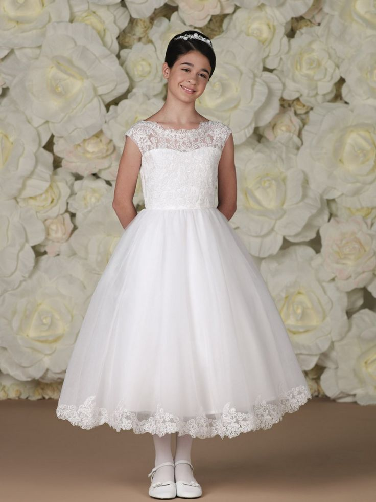 Girl's first communion dress Tea length Cap Sleeves Lace Ball gown ...