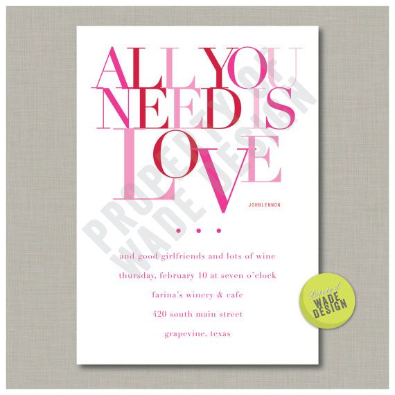 Valentine Party Invitation Card Digital by WadeDesignPrintables, $15.00