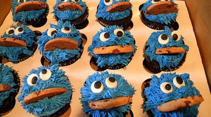 Cupcake Desain Cookie Monster