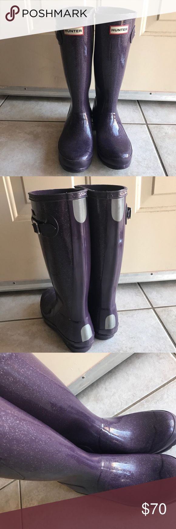 Big kids Hunter Rain Boot Original Hunter Boot with Bright Violet Glitter finish. Used but great condition, only the straps on the bucket got little scratches. Big girl size 5, Will fit women size 6 Hunter Boots Shoes Rain & Snow Boots