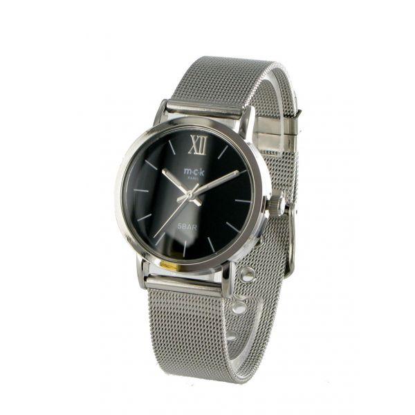 http://unemontretendance.com/858-montre-ronde-argentee-et-noire-sur-bracelet-milanais-mck.html