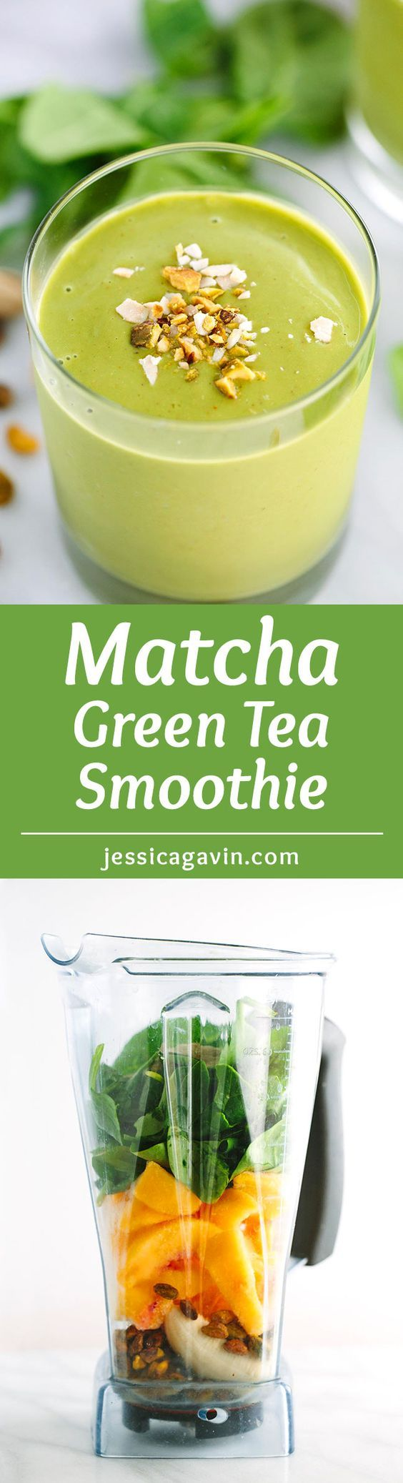 Energizing Matcha Green Tea Smoothie with Peaches - A creamy refreshing, healthy smoothie made under 5 minutes. Packed with peaches, bananas, spinach, and pistachios. | jessicagavin.com