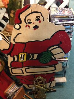 Vintage  Wood Artisan crafted Christmas Santa Claus at Scranberry Coop