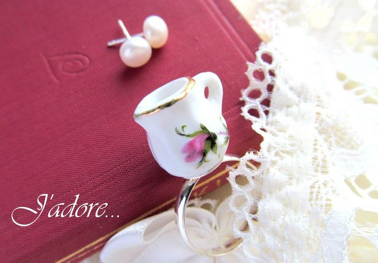 Porcelain miniature set -cultured pearls/silver post and teapot rose ring- https://www.facebook.com/pages/Afterforever/165476590226070