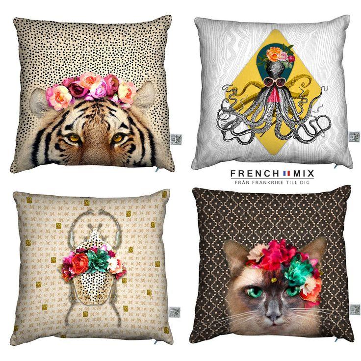 """Sätt en touch av glamour i ditt hem med våra färgglada kuddar från """"Laissez Lucie faire"""". Frenchmix"""