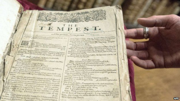 "Shakespeare First Folio discovered in small French town. ""New discoveries are made roughly once a decade, and they are scrutinised by scholars for minor variations (each copy is different) and what they might reveal about Shakespeare's intentions.""  The copy discovered in Saint-Omer is only one of two known to reside in France."