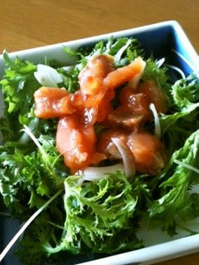 鮭ルイベのわさび菜サラダ by 飛行機くも [クックパッド] 簡単おいしい ...