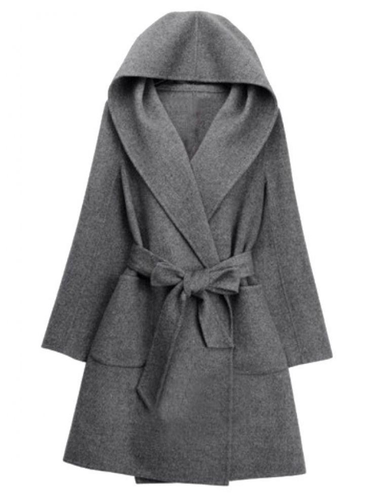 Grey Hooded Tie-waist Casual Coat -SheIn(abaday)