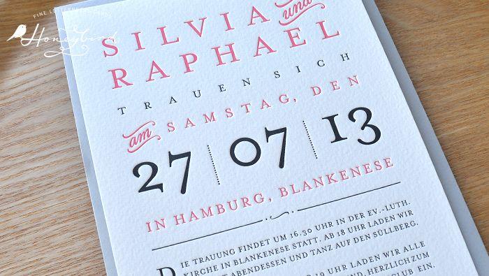 providence letterpress einladung zur hochzeit in flamingo, Einladungsentwurf