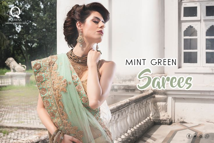 Steal the show with this mint green saree available exclusively at #QueensEmporium, Marine line. #DesignerSaree #Saree