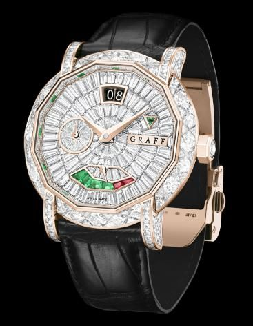 Diamond&Rose Gold Graff GraffStar Grand Date 45mm - швейцарские женские часы наручные, золотые с бриллиантами, белые