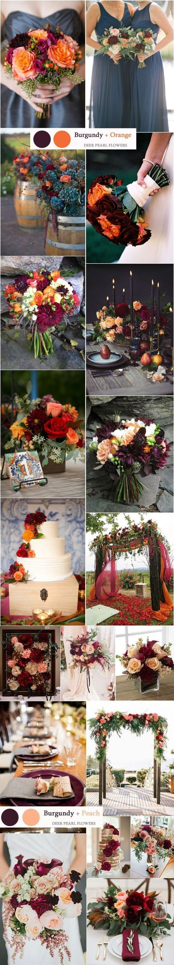 burgundy fall wedding colors ideas / http://www.deerpearlflowers.com/top-8-burgundy-wedding-color-palettes-youll-love/