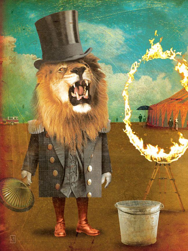 lion love: Lion, Art Illustrations, Vogin Illustration, Circus Circus, Collage, Animal