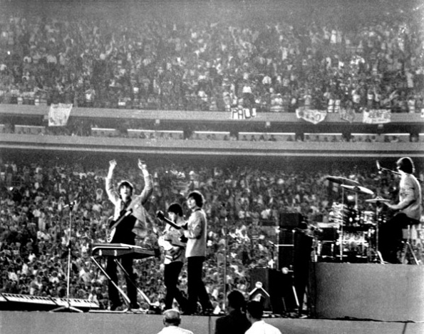 A shot from the Beatles' first concert at Shea Stadium, August 15, 1965.