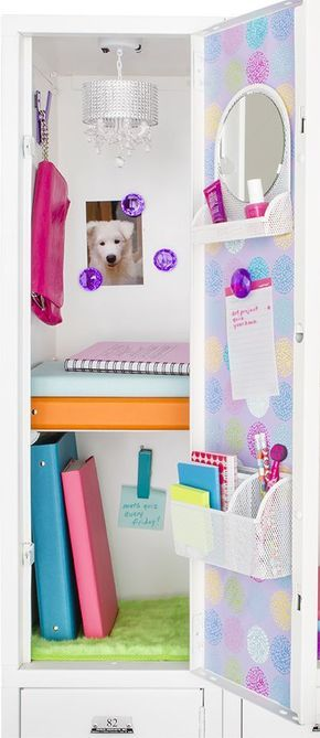 Be prepared: A locker well-stocked with pens, pencils, notepaper and other school supplies will ensure that the right tools are always at hand. A magnetic organizer like the Mesh Magnetic Organizer Bin on the inside of a locker door is an ideal way to keep those supplies organized and easily accessible. One for practicality and one with a mirror like the Charleston Magnetic Vanity Bin make quick hair and face checks and touchups super easy.