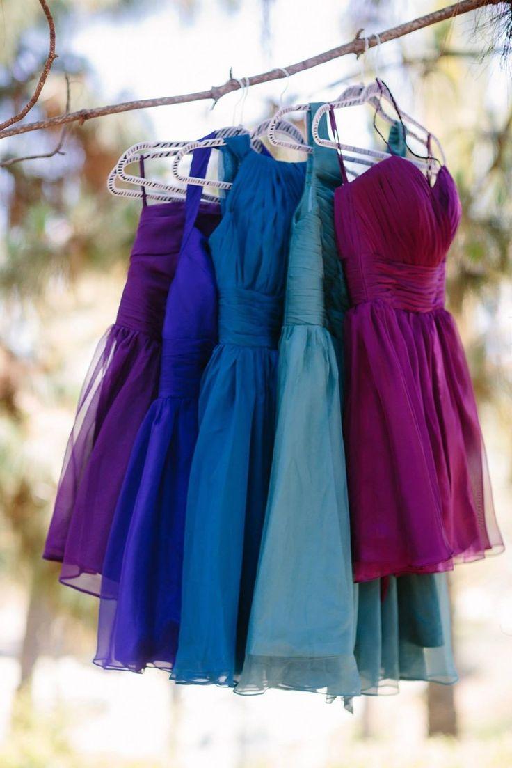 Multicolor jewel tone bridesmaid dresses                                                                                                                                                      More