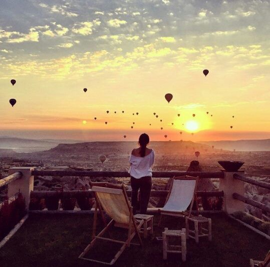 Overlooking at the balloons at Red Valley, Cappadocia