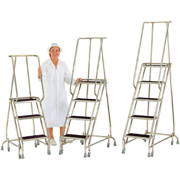 Stainless Steel Mobile Safety Steps 3 treads 765 high