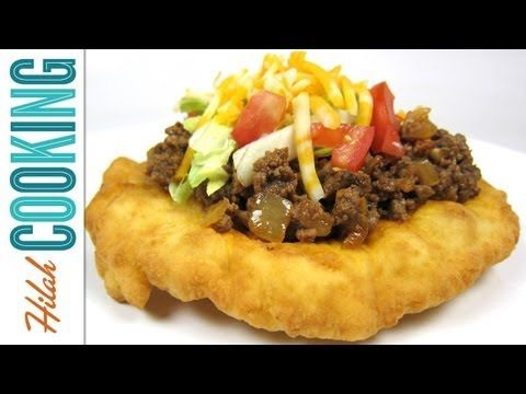 """Indian tacos"" aka ""Navajo tacos"" are made with fry bread that's topped like a taco."