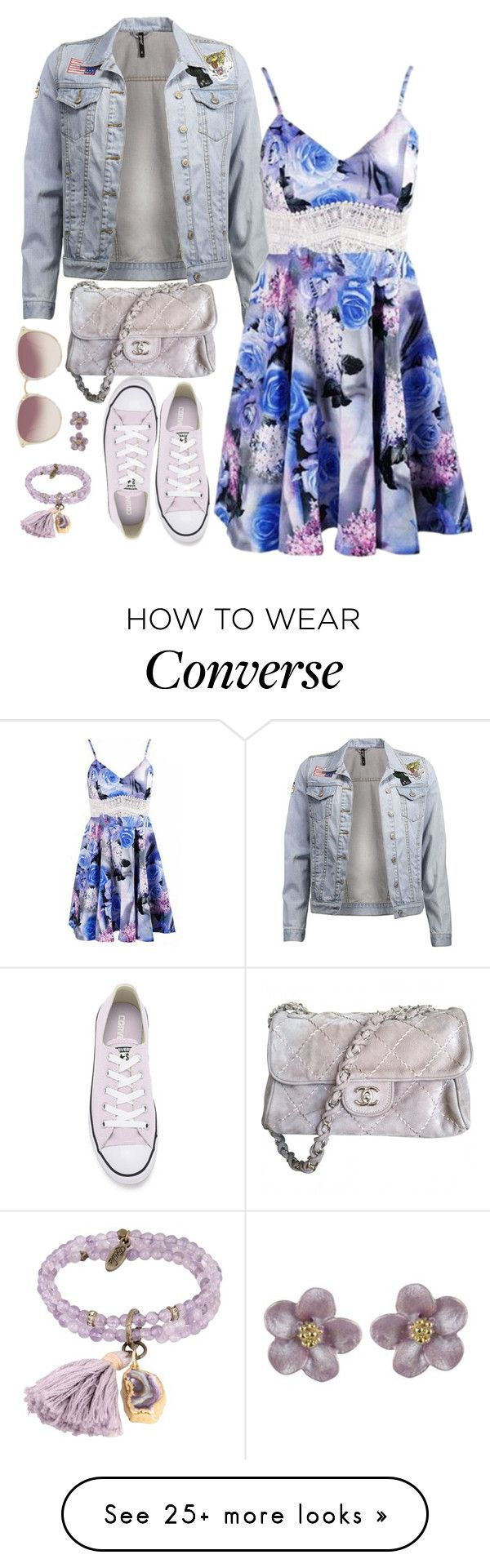 """Floral Dress [2]"" by myxvonwh on Polyvore featuring Converse, Ettika, Linda Farrow and Chanel"