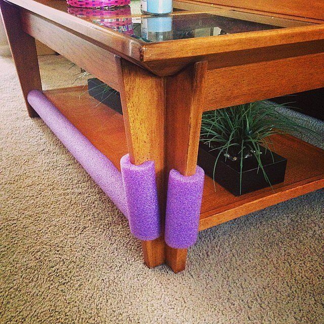 Pool Noodle Childproofing: Cover furniture with sharp edges with pool noodles. Source: Instagram user mrs_stacieross