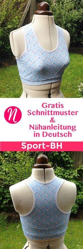 Gratis Schnittmuster und Nähanleitung für einen Sport BH. Größe M - 3XL. Schnittmuster Freebook zum Ausdrucken. Nähtalente - Magazin für kostenlose Schnittmuster.