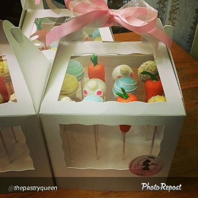 Easter Cake pops by The Pastry Queen in BRP Box Shop Cake Pop Boxes