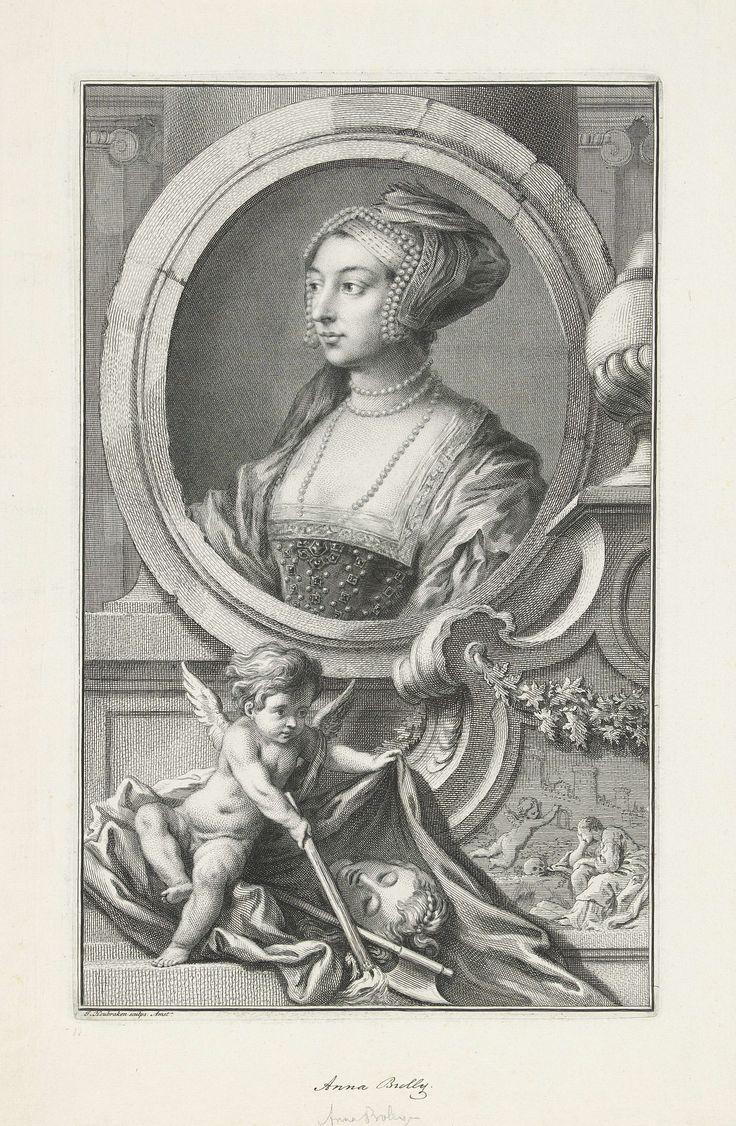 Portret van Anna Boleyn, koningin van Engeland, Jacob Houbraken, Hans Holbein, 1736 - 1738