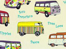 Retro Hippie Stoff mit  Bussen **