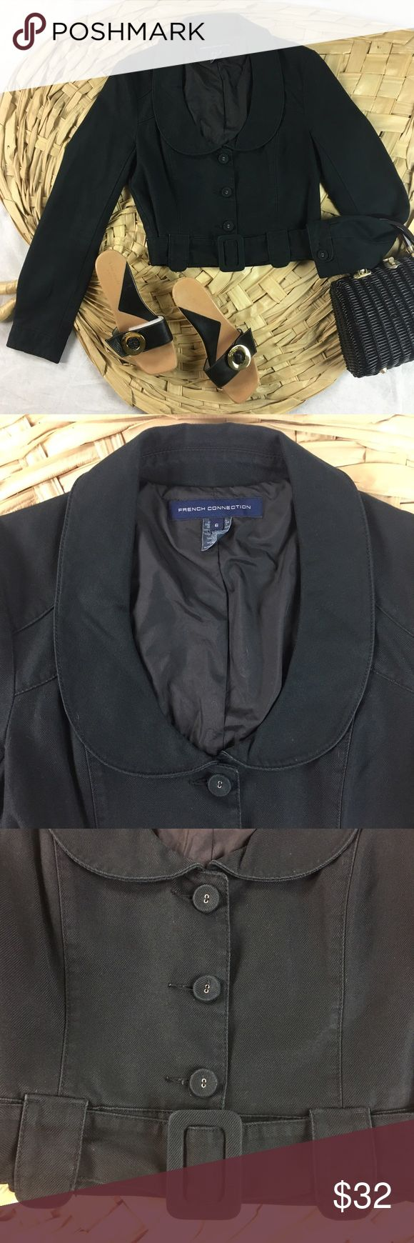 "French Connection Belted Black Denim Crop Jacket This denim crop jacket features fabric-covered buttons, buttoned sleeve cuffs & an adjustable waist belt. Shoulder to hem 42"", shoulder to cuff 35"". Exterior made of 100% cotton, lining made of 100% polyester. Excellent condition. French Connection Jackets & Coats Jean Jackets"