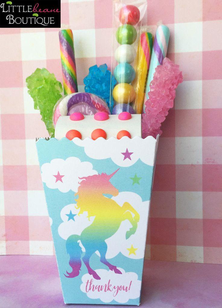 Rainbow Unicorn treat box,Unicorn Popcorn Box,Birthday Party, Personalized favor Box,Unicorn Favor boxes,Unicorn party favors,Treat box by LittlebeaneBoutique on Etsy https://www.etsy.com/listing/504768928/rainbow-unicorn-treat-boxunicorn-popcorn