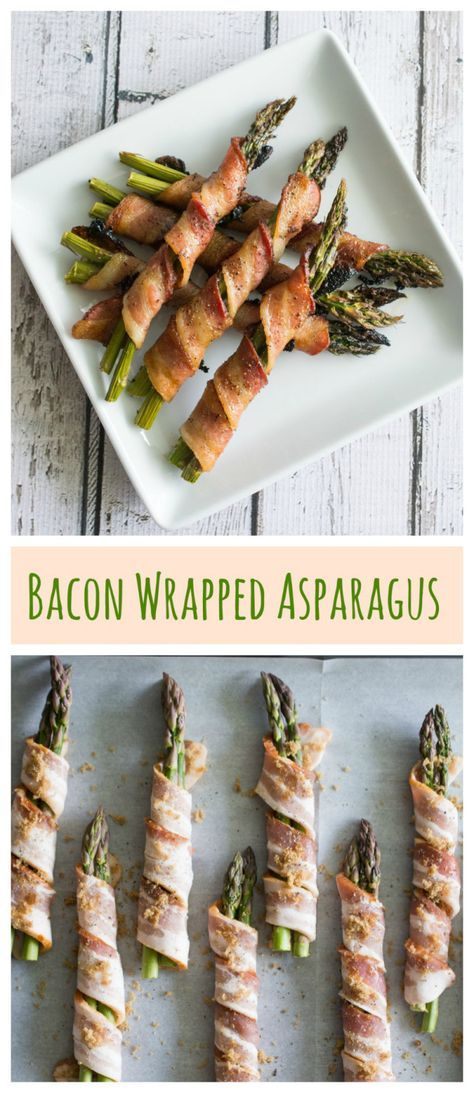 Bacon Wrapped Asparagus - the perfect side dish! Just a hint of brown sugar makes the bacon smokey sweet. Pairs so well with the fresh, crisp asparagus.