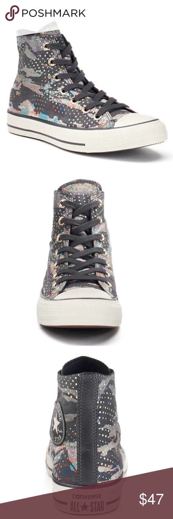 Big Kid Converse Mountain Landscape Shoes Brand New In Original Box. These Mountain Landscape sneakers from Converse highlight a trendy high top style with an eye-catching paint splatter print. Converse Chuck Taylor All Star Mountain Landscape High-Top Sneakers SHOE FEATURES High-top Metallic dots Traction sole SHOE CONSTRUCTION Canvas upper / lining Rubber outsole SHOE DETAILS Round toe Lace-up closure Padded footbed   J15 Converse Shoes Sneakers