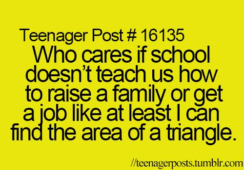 Teenager Post #16135 ~ Who cares if school doesn't teach us how to raise a family or get a job like at least I can find the area of a triangle. ☮