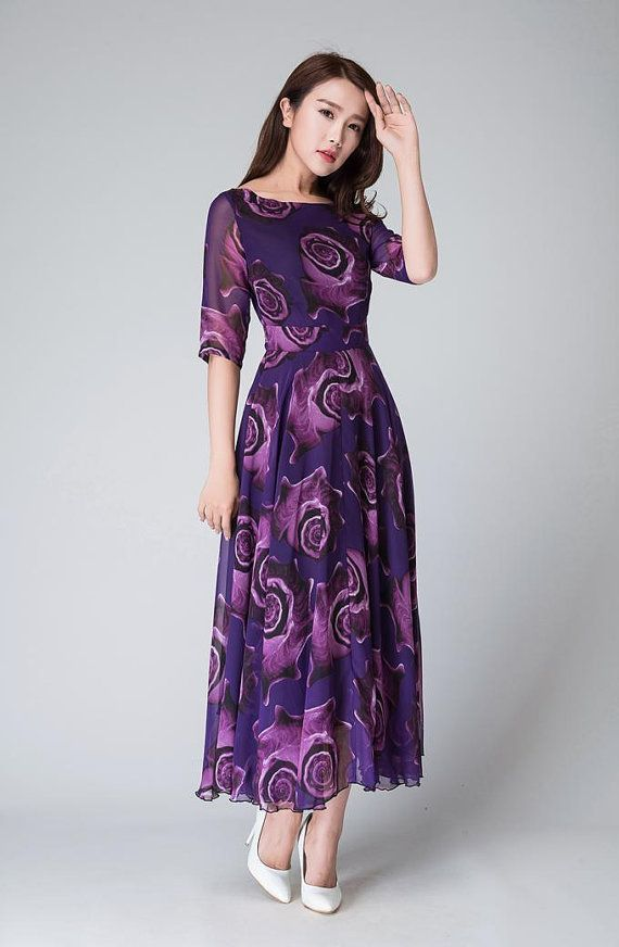 Purple Floral Dress women dresses maxi dress half sleeve