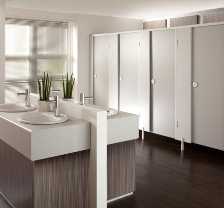 Stylish commercial bathroom - Grampian HPL Cubicles from Cubicle Centre