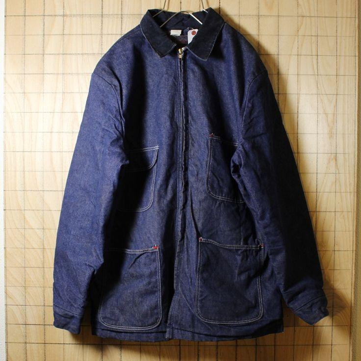 BLUE BELL/USA製80s古着/ブルー/裏地ブランケット/デニムジャケット・カバーオール/メンズML相当/coa18