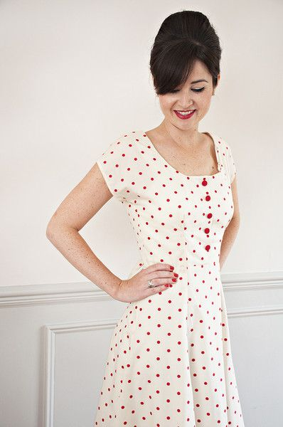 Doris Dress Sewing Pattern from Sew Over It - this polka dot dress would be perfect for a summery picnic in the park