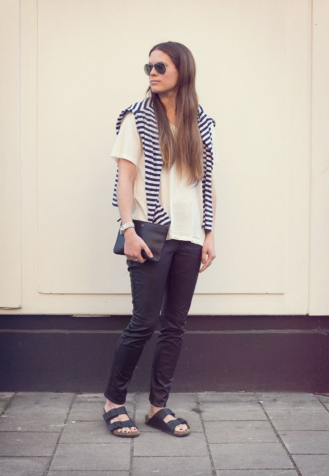 Rodarte x Target striped sweater, Monki tee, HM leather pants, Ray Ban  sunglasses