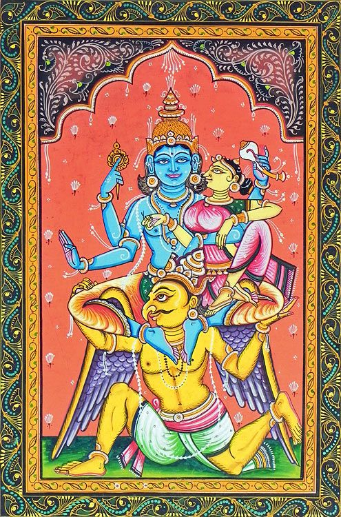 Garuda Carrying Vishnu and Lakshmi on His Shoulder (Orissa Paata Painting on Canvas - Unframed))