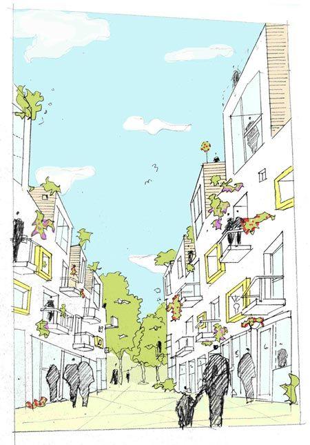 archi perspective- street level views much better than what Jan Gehl calls 'Birdshit Architecture'