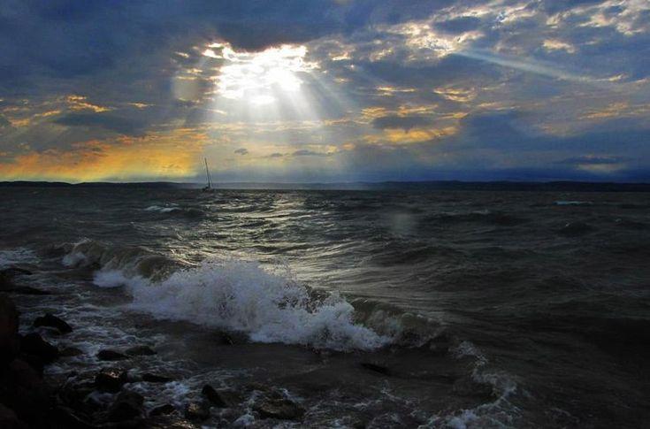 Lake Balaton in storm.